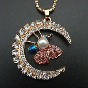 Betsey Johnson crystal  moon butterfly necklace